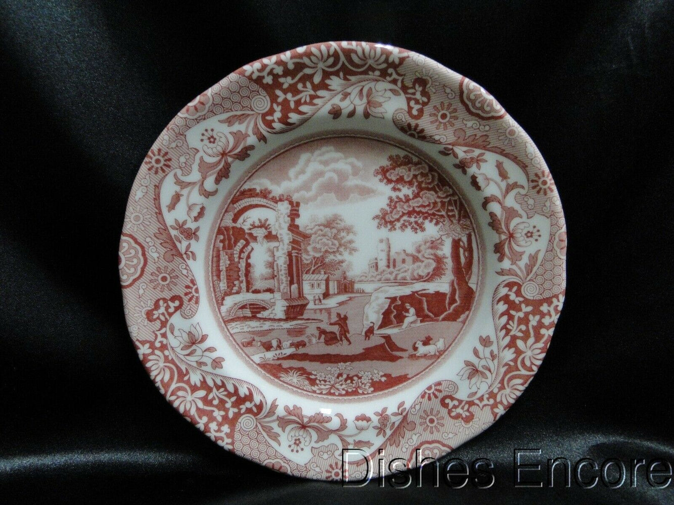 Spode Italian, Cranberry / Red Scene, England: NEW Salad Plate (s), 7 1/2""