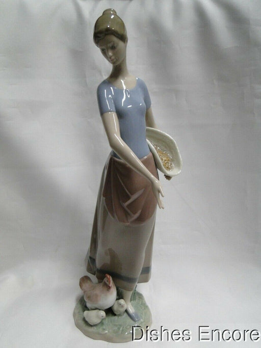 "Lladro Figurine: Country Chores #06370, Woman Feeding Chickens, 13 1/4"" tall"