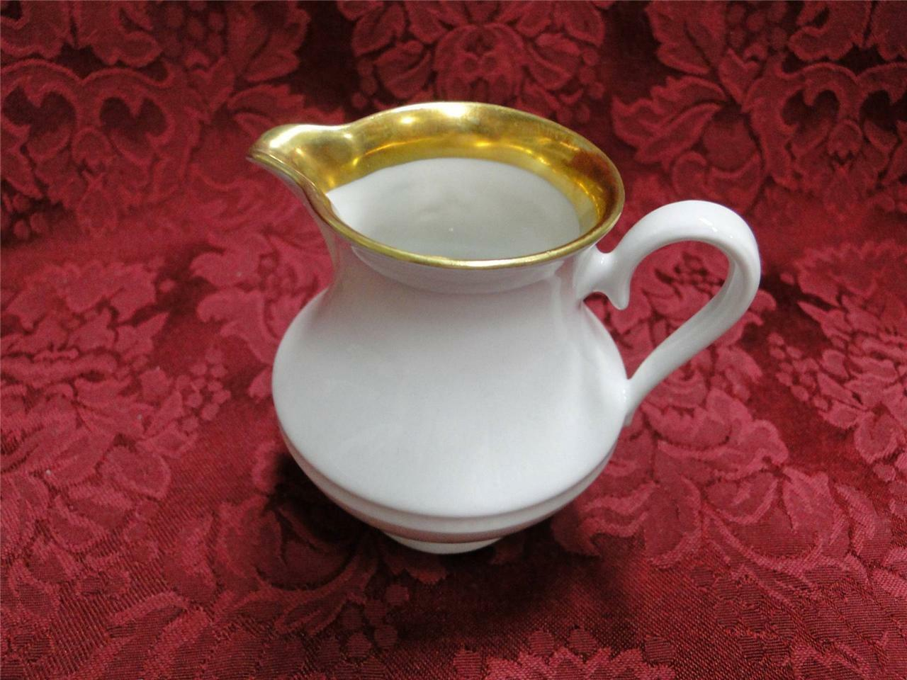 Bareuther White Embossed with Gold Trim: Creamer 3 1/4""