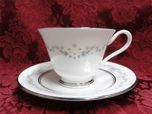 Oxford (Lenox) Holyoke, Daisies, Gray & Blue Leaves: Cup & Saucer Set (s)