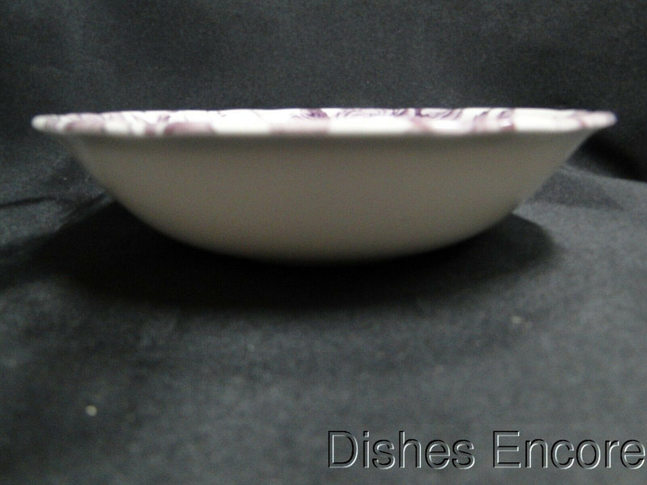"Spode Kingsley, Plum Florals on White, England: NEW Cereal Bowl, 7 1/4"" x 1 3/4"""