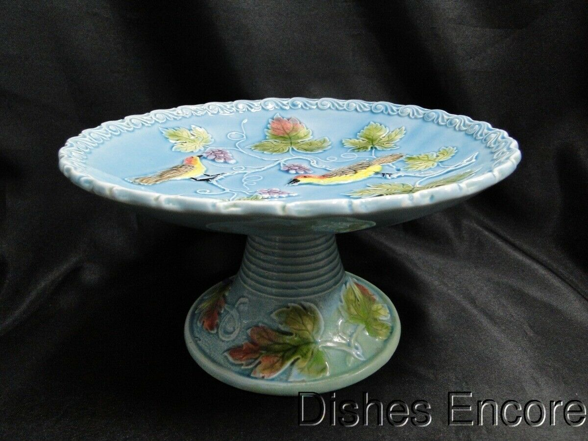 Black Forest Art Pottery, Majolica, Birds & Grapes: Pedestal Cake Plate AS IS