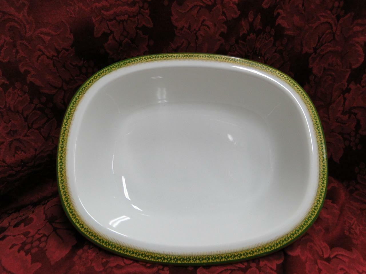 Tressemanes & Vogt 5222, White w/ Gold on Green Band: Oval Vegetable Bowl 9 3/8""