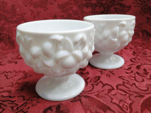 "Milk Glass Pair of Single Candleholders, Flower Design 2 3/4"" tall"