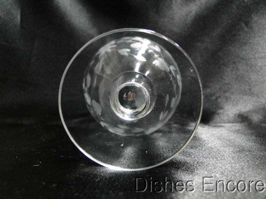"Clear with Etched Floral, Ball Stem: Oyster Cocktail (s), 3 5/8"" Tall - CR#031"