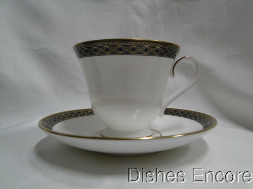 Waterford Powerscourt, White w/ Blue & Gold Border: Cup & Saucer Set (s), 3""