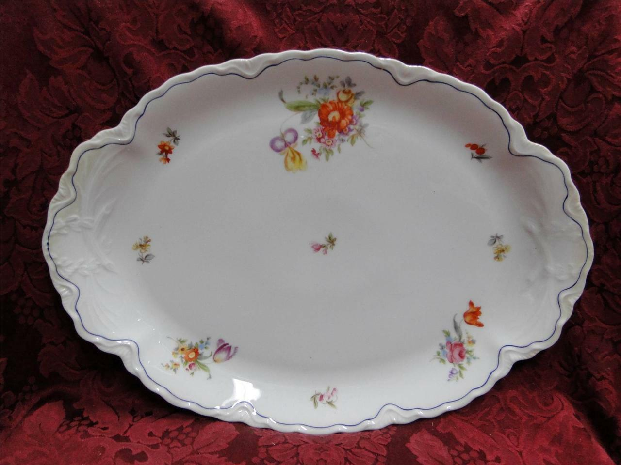 Krautheim/Franconia FR115 Floral with Blue Trim: Oval Serving Platter (s) 14""
