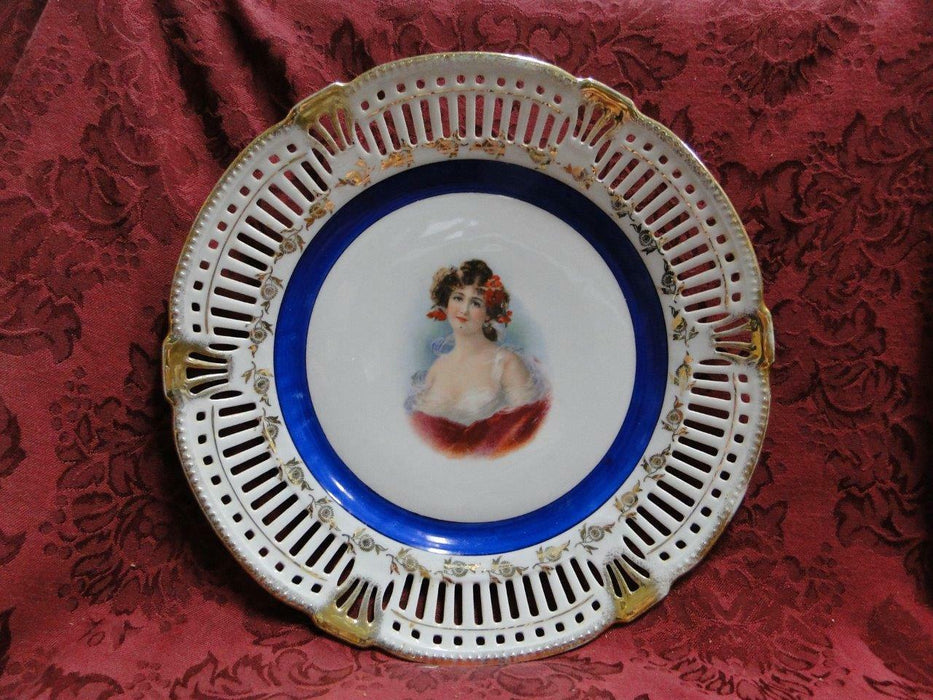 White Reticulated Plate w/ Gold Flowers & Trim, Blue Band, Lady in Center, 10.5""