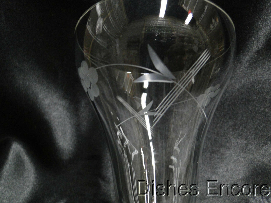 "Etched Flowers & Leaves: Water or Wine Goblet, 6 5/8"" - CR#016"