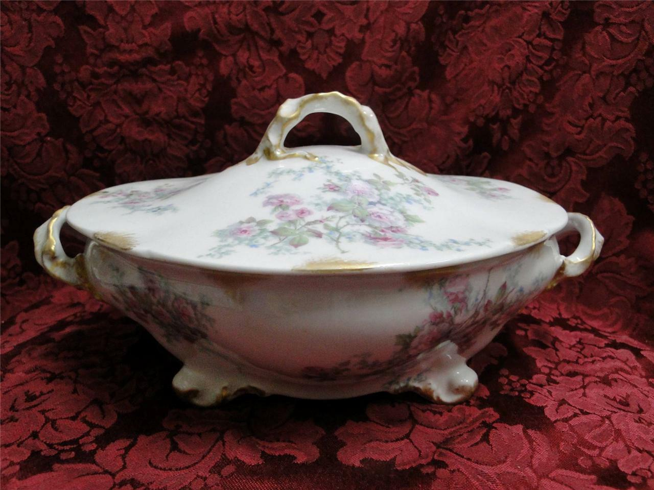 Wm Guerin Limoges Pink Roses w/ Blue & Green:Oval Covered Vegetable Serving Bowl