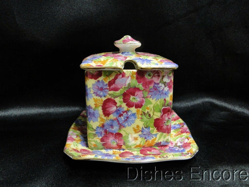 Royal Winton Royalty, Yellow Background Chintz: Ascot Jam or Jelly with Tray