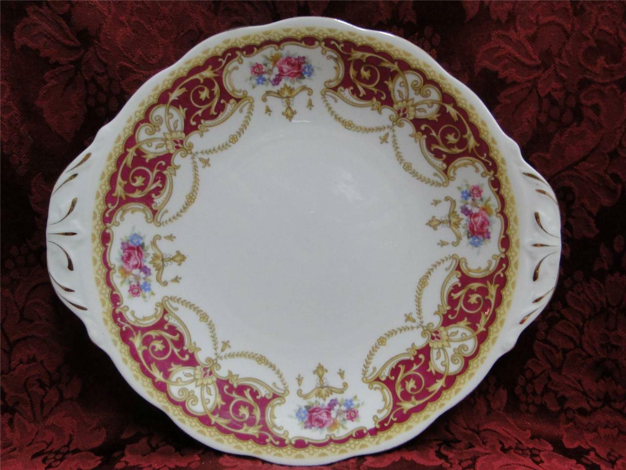 Queen Anne Regency Red, Floral Sprays Red Border: Cake Plate w/ Handles 10 3/8""