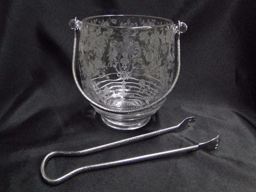 "Cambridge Rose Point Clear: Ice Bucket w/Detachable Handle w/Tongs 5 3/4"" AS IS"