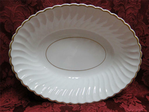 "Syracuse Standish, White Swirl, Gold Trim: Oval Vegetable Bowl, 10"" x 7.5"""