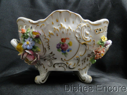 A. S. Dresden, 2D & 3D Flowers, Gold: Footed, Scalloped Bowl w/ Handles, 10""