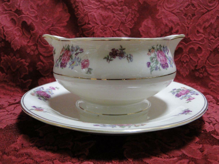 Haviland (New York) Arlington, Roses, Flowers, Gold Trim: Gravy Boat w/Underplate