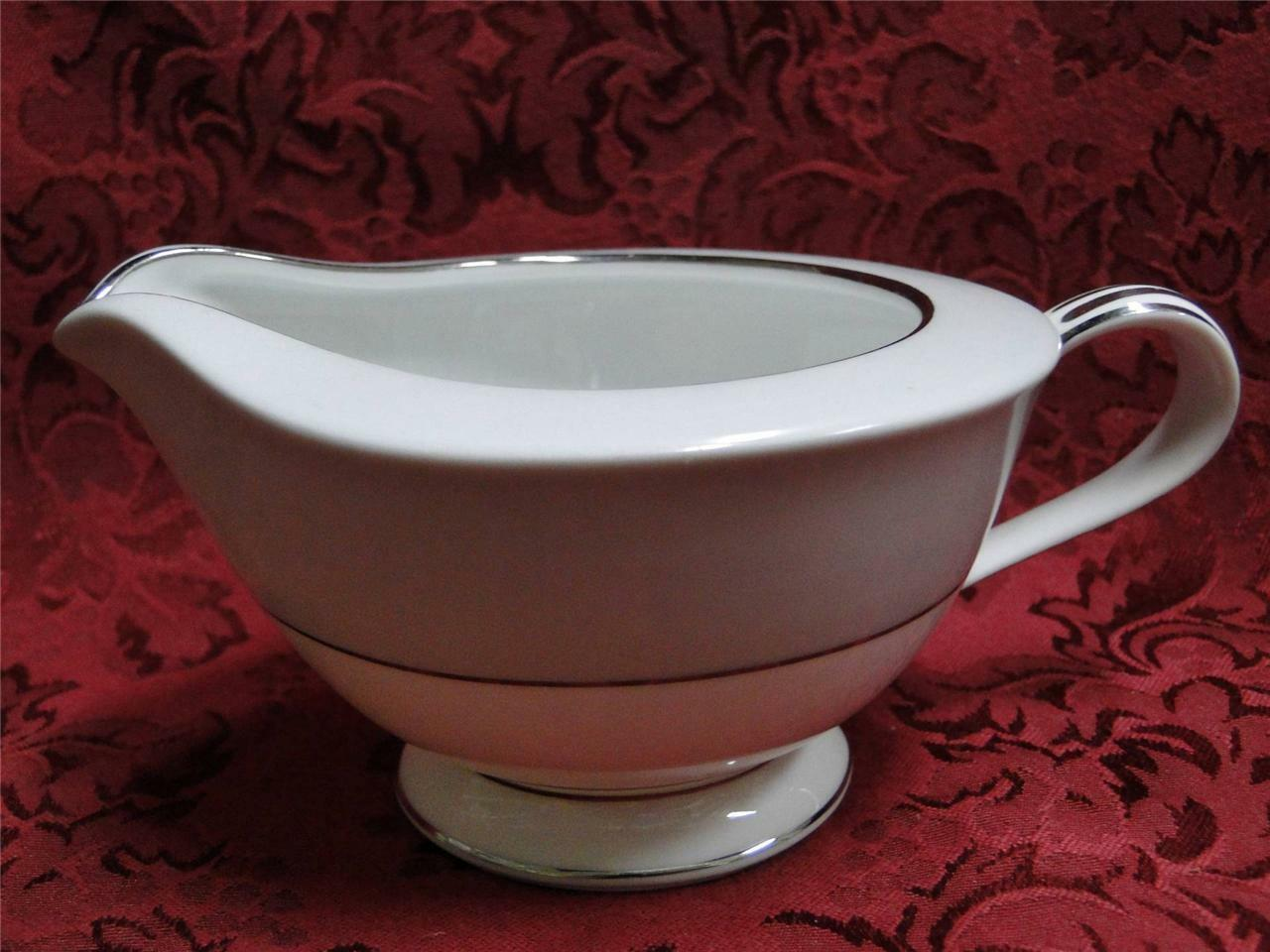Noritake Grayburn, 5323, Gray Rim, Platinum Trim: Creamer / Cream Pitcher