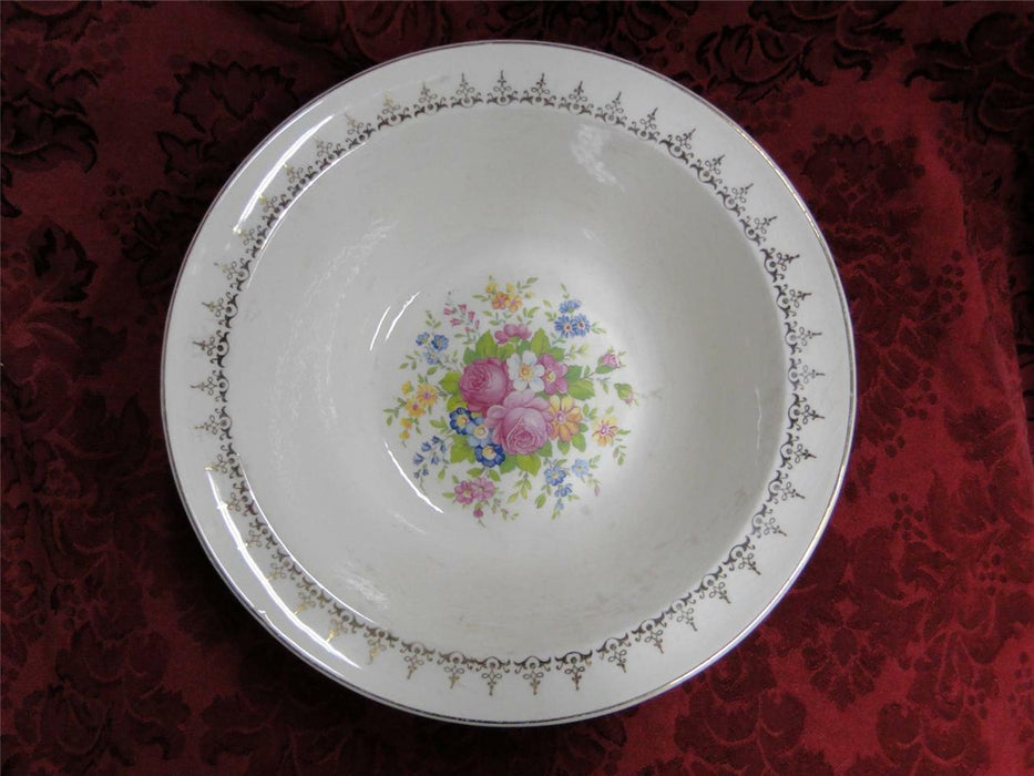 Taylor Smith Taylor: Floral Bouquet, Gold Filigree: Round Vegetable Bowl, 9""