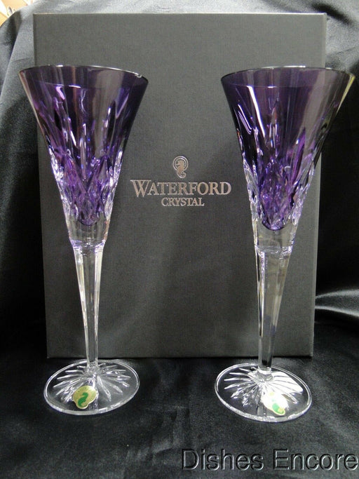 "Waterford Crystal Lismore Amethyst: NEW Pair Purple Champagne Flutes, 9 1/4"", Box, FREE SHIPPING"