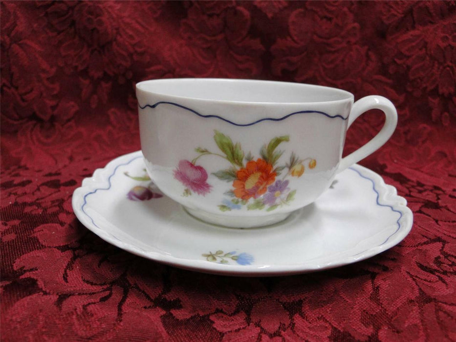 Krautheim/Franconia FR115 Floral with Blue Trim: Cup and Saucer Set (s)
