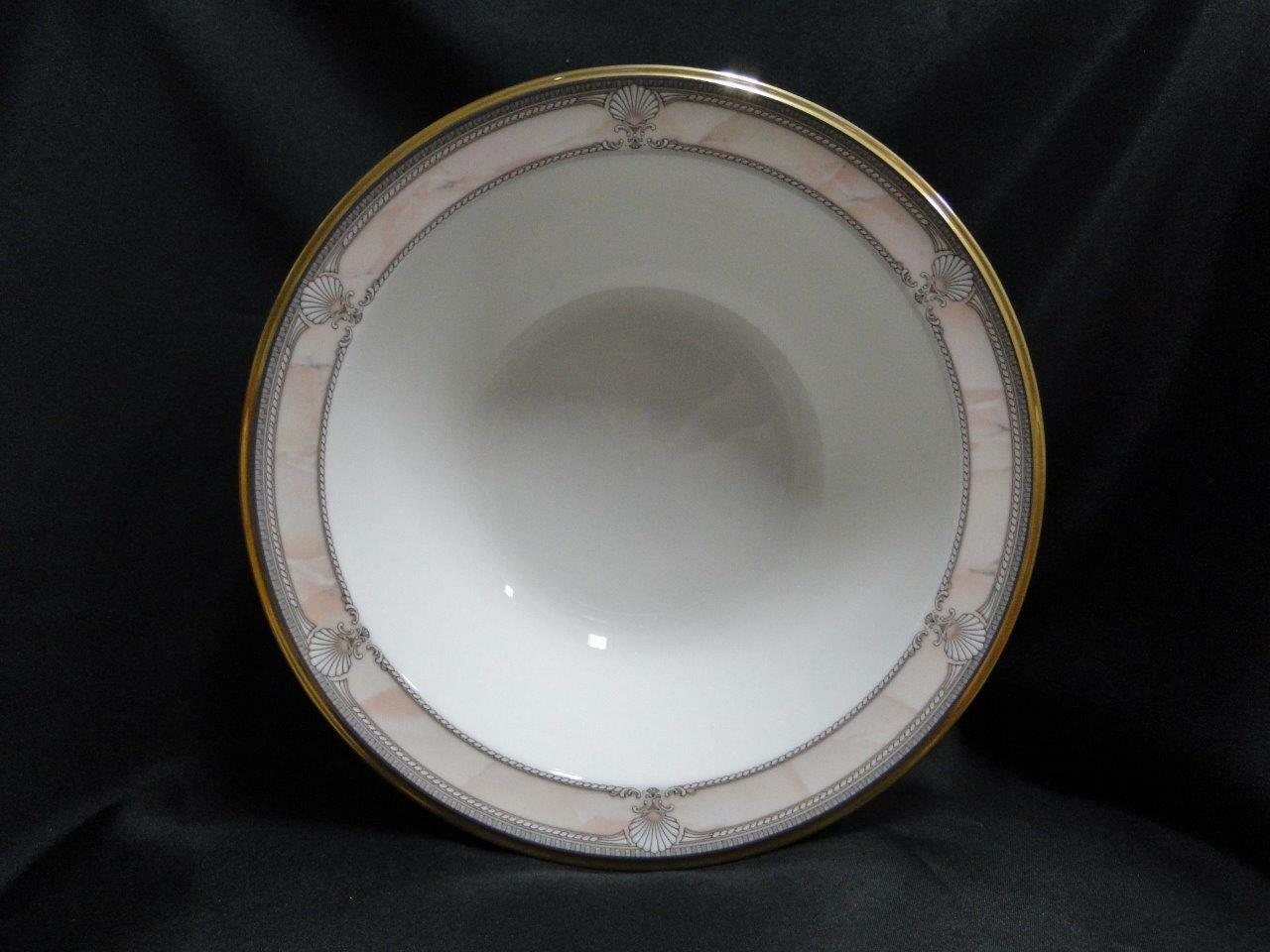 Noritake Pacific Majesty, 9771, White Shells, Pink Rim: Round Serving Bowl, 9.5""