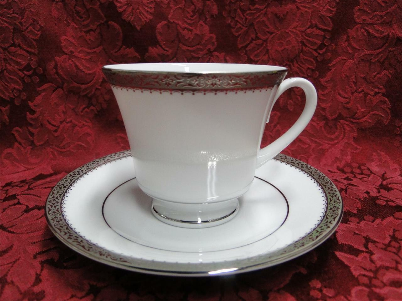 Noritake Essex Platinum, Encrusted Floral Band: UNUSED Cup & Saucer Set (s)