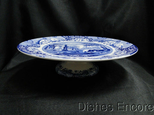 "Spode Italian, Blue Scene: NEW Footed Cake Plate, 10 3/4"", Box"