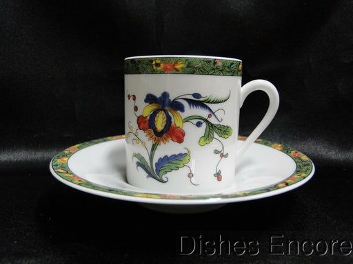 Raynaud Ceralene Louviers, Flowers, Green Band: Demitasse Cup & Saucer, 2 3/8""