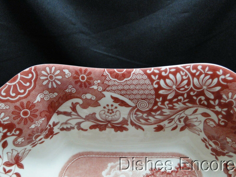 "Spode Italian, Cranberry / Red Scene: NEW Square Serving Bowl, 9 1/2"", Box"