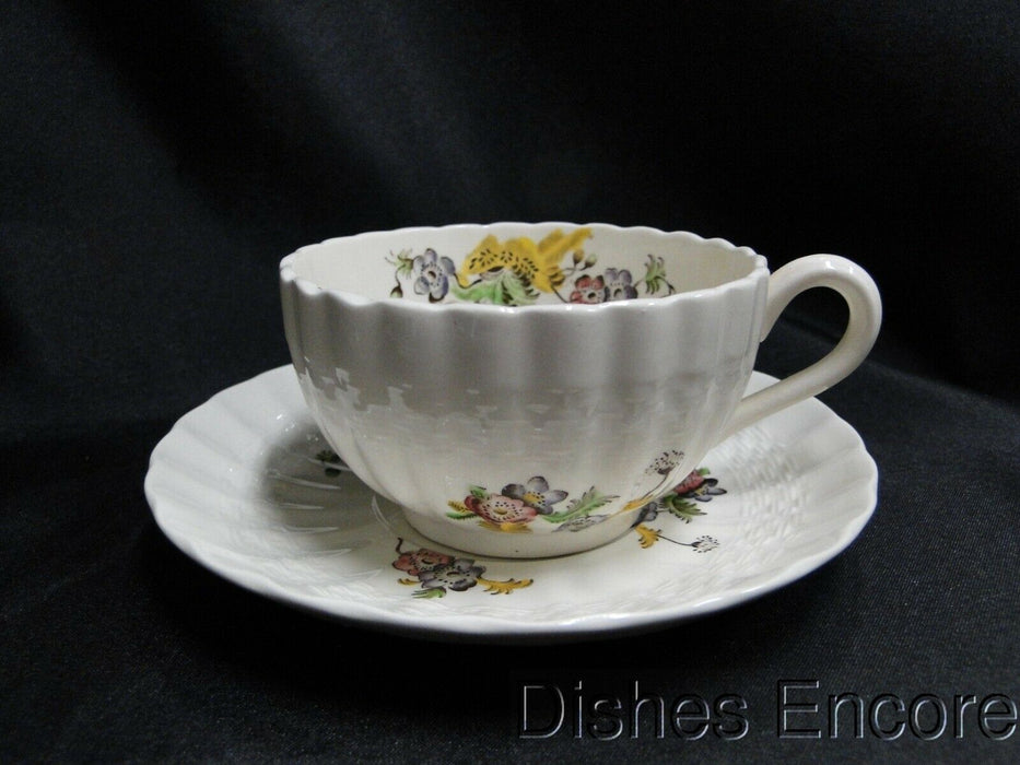 Spode Wicker Lane, Basket Weave, Florals: Cup & Saucer Set, Crazing & Chip