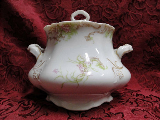 "Syracuse 53203, Pink Flowers, Tan Lattice: Sugar Bowl & Lid, 4.75"",  As Is"