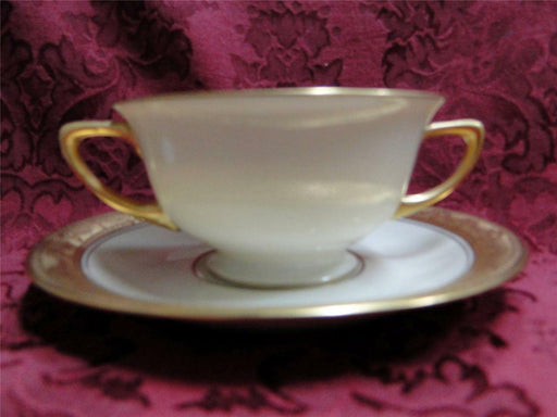 Pickard / Heinrich Pic67, Encrusted Gold Urns & Flowers: Bouillon Soup & Saucer