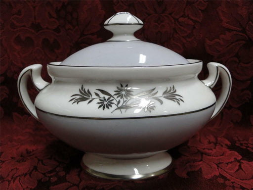 Royal Doulton Kingsmere H4909, Gray Band, Platinum Flowers: Sugar Bowl w/ Lid