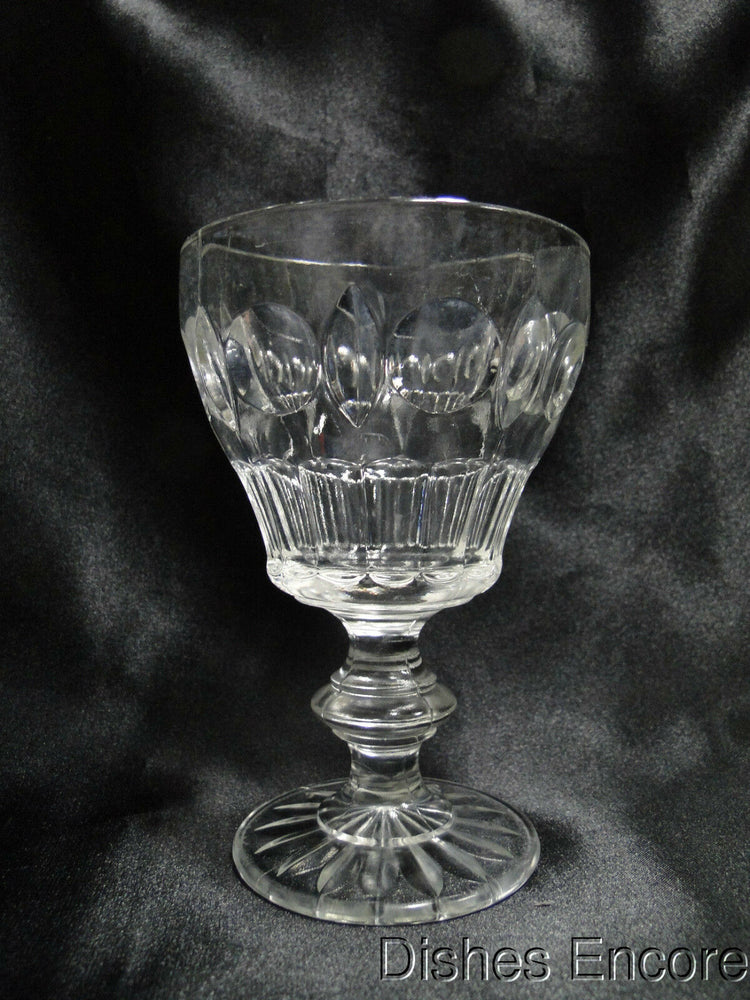 "Pressed Glass Thumbprints & Wafer Stem: Water or Wine Goblet 5 1/2"" - CR#027"