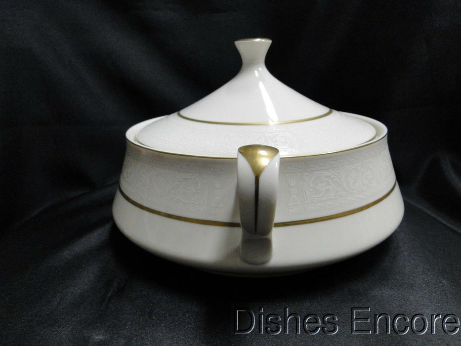 Sheffield Sonata 606, White Scrolls, Gold Trim: Covered Serving Bowl, 7 1/4""