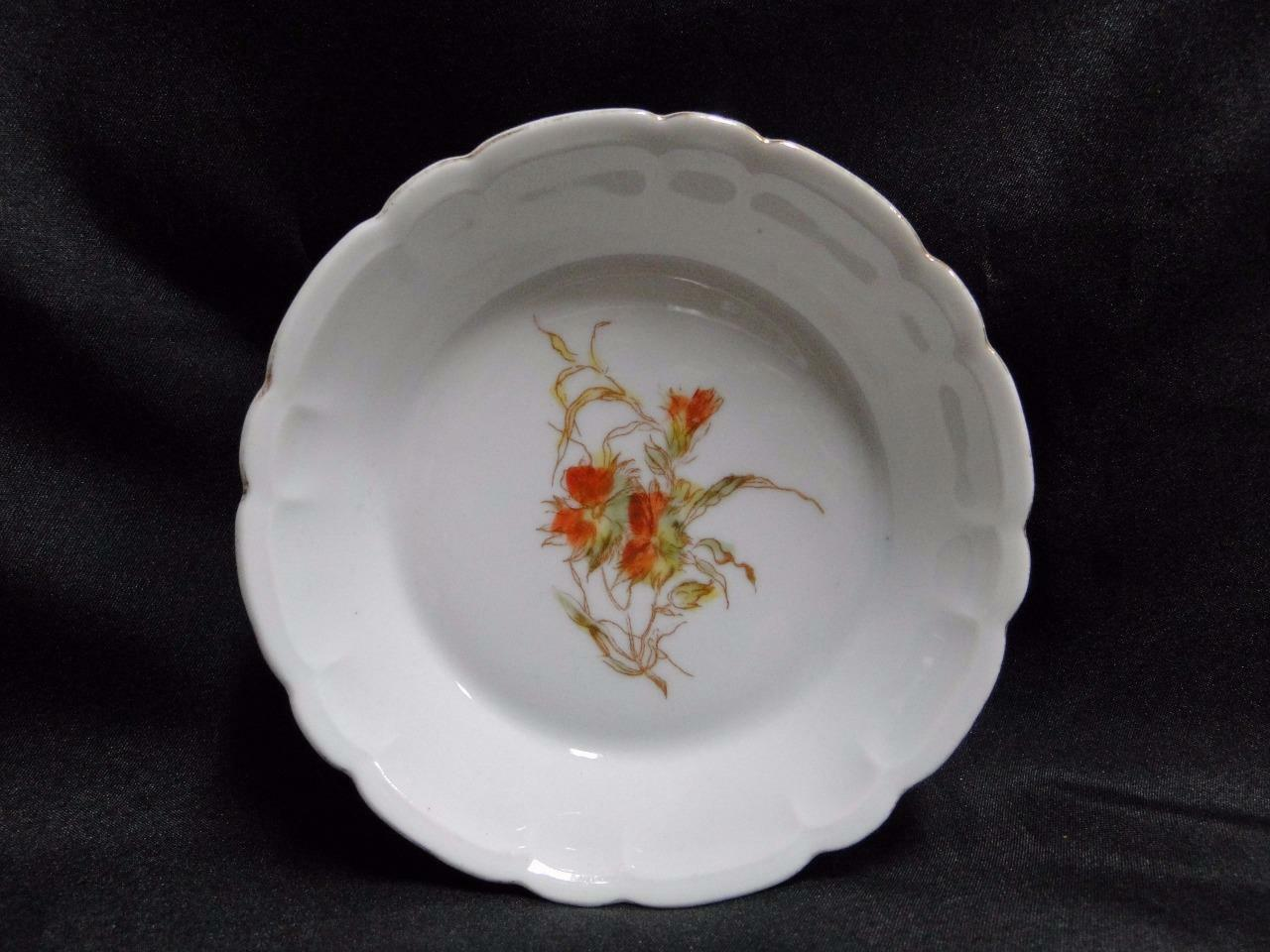 "Schwalb Brothers (BSM), Coral Flowers on White: Fruit Bowl (s) 5 1/4"", Design #1"