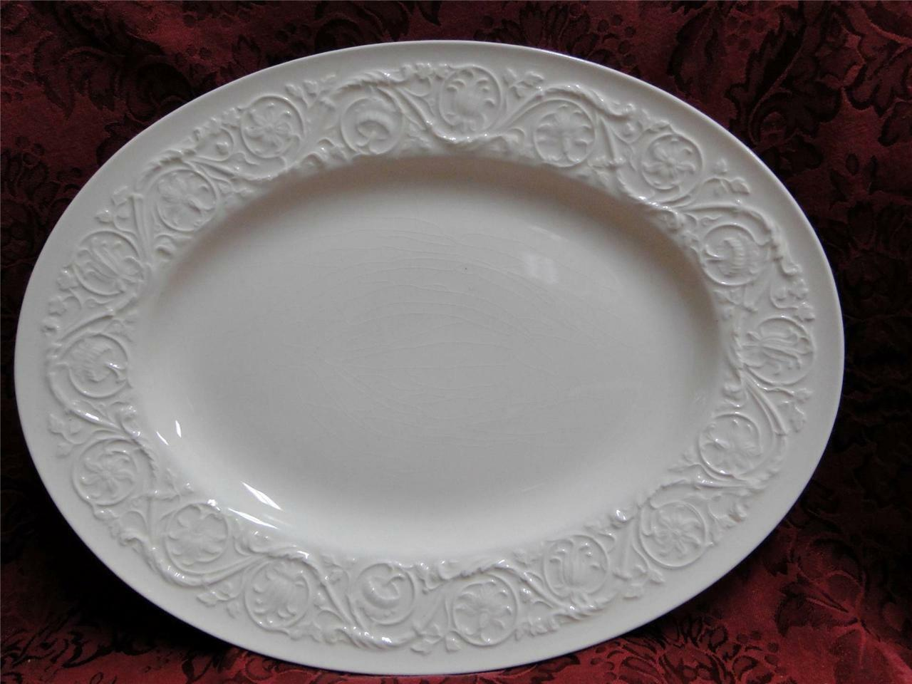 "Wedgwood Patrician, Embossed Flowers & Scrolls: Platter, 14"", As Is"