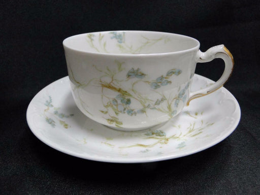 Haviland Limoges, Schleiger 245 Blue Flowers w/Green Leaves:Cup & Saucer Set (s)