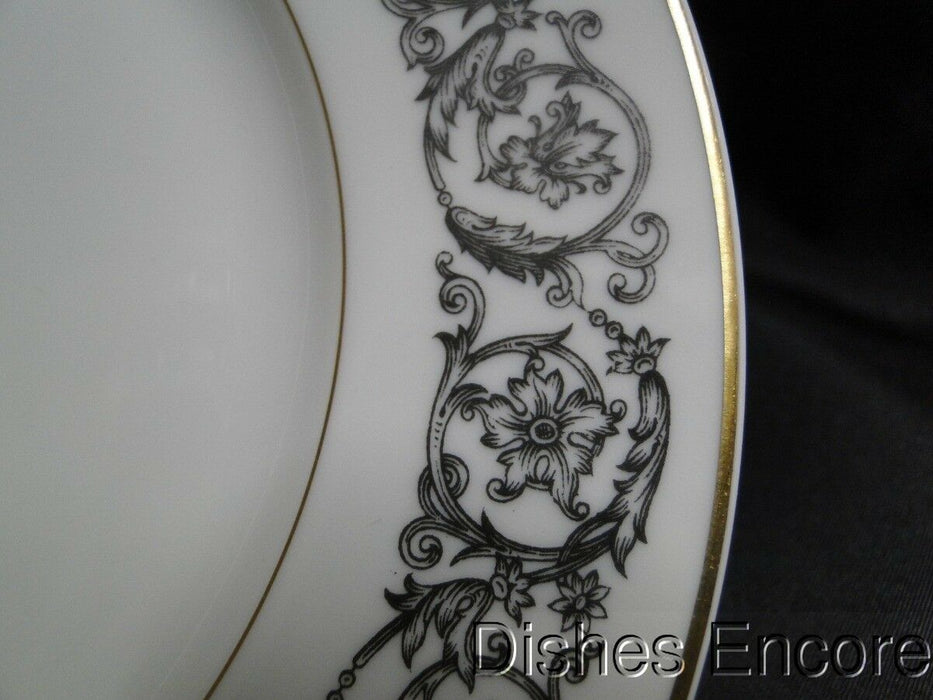 Haviland (Limoges) Navarre, Black Floral Border, Gold Trim: Salad Plate 7 1/2""