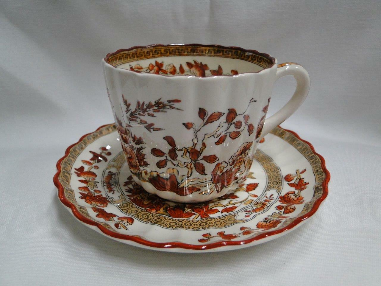 Spode India Tree Orange Rust, Floral, Red Trim: Cup & Saucer Set (s), 2.5/8""