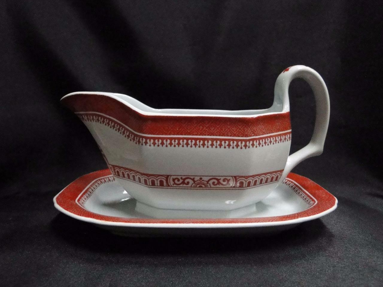 Spode Heritage Red, Eagle, New Stone: Gravy Boat w/ Attached Underplate