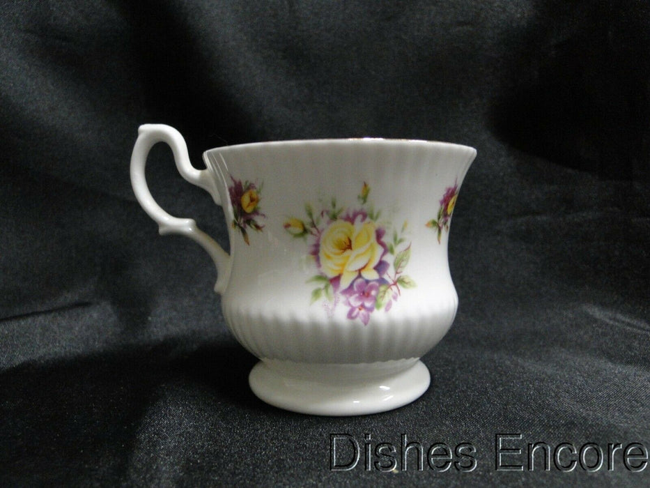 Royal Dover Yellow Roses, Purple Flowers: Demitasse Cup & Saucer Set, 2 3/8""