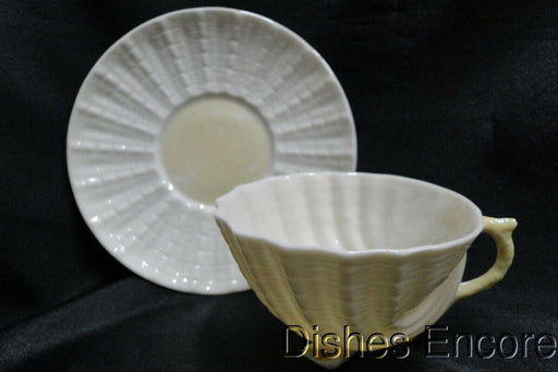 Belleek Neptune, Yellow: Shell Footed Cup & Saucer Set, Plain Inside Cup