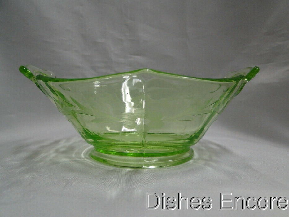 "Vaseline Glass, Green w/ Florals: Hexagonal Dish w/ Handles, 6"", As Is, MG#057"