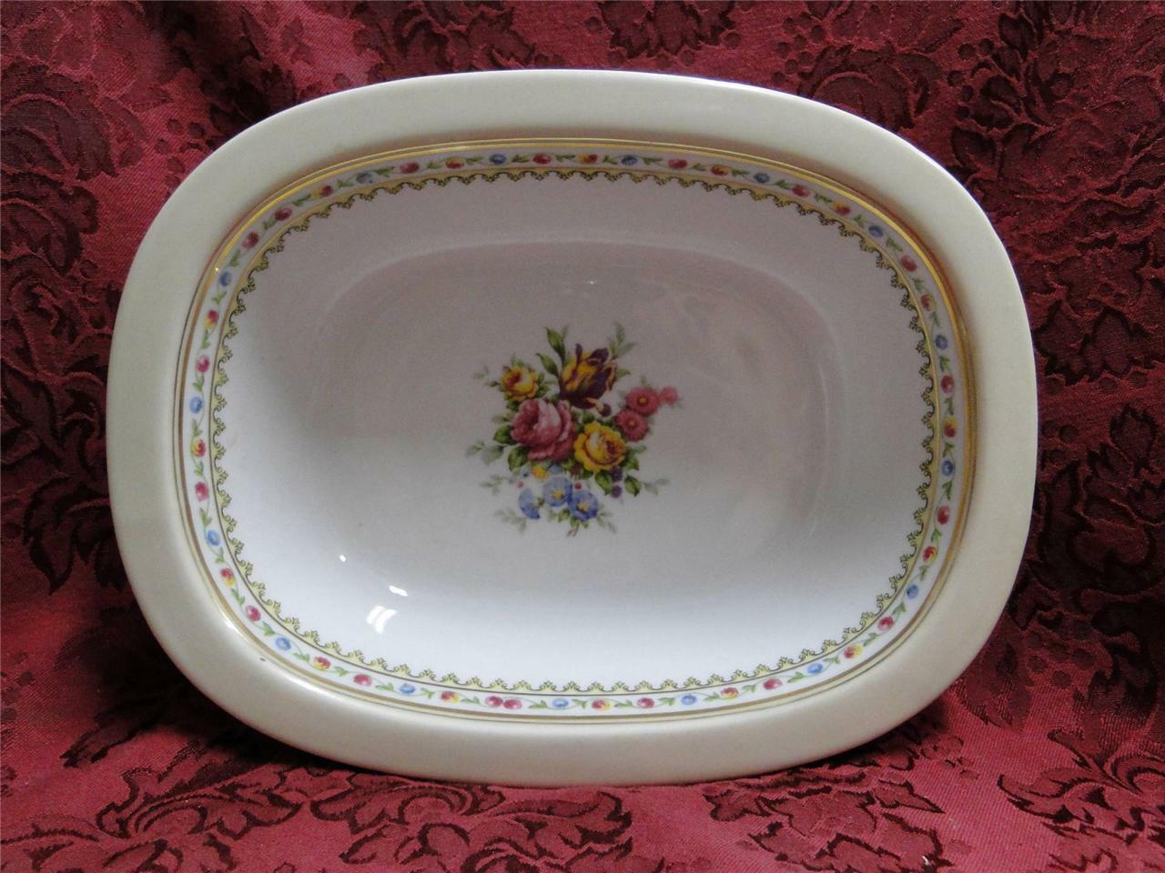 Raynaud RYD2: Tan Rim, Floral Center, Rose Trim: Oval Serving Bowl (s), 9 3/4""