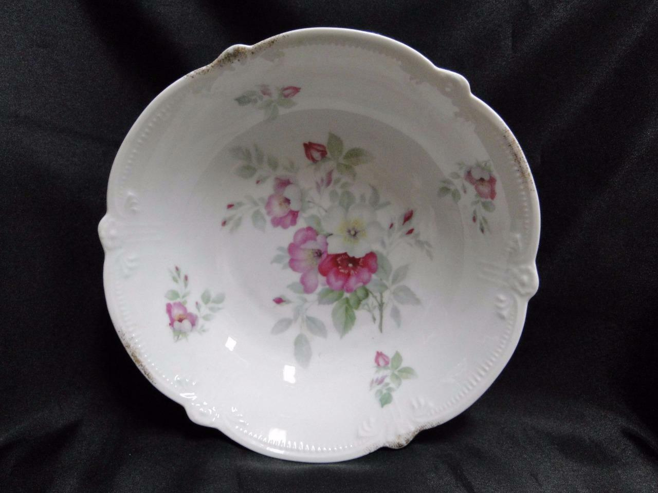 Bavaria, Pink and White Flowers, Round Serving Bowl with Embossed Edge 9 1/8""