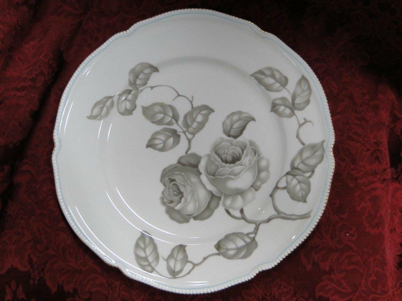 Castleton Gloria, Taupe Roses, Thin Blue Trim: Dinner Plate (s) 10 5/8""