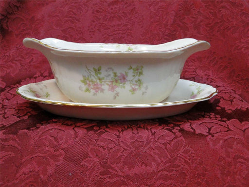 Syracuse Stansbury, Pink Flowers: Gravy Boat with Attached Underplate
