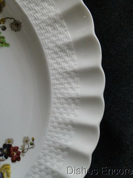 "Spode Wicker Lane, Basket Weave, Florals: Dinner Plate, 10 1/2"", Chip on Edge"