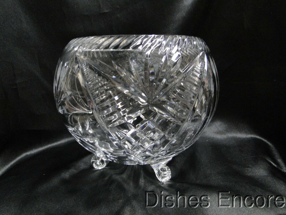 "Clear w/ Gray Cut Flowers, Cut Fans & Lines: 3-Toed Rose Bowl, 6 3/4"" -  MG#167"